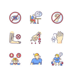 Illness types rgb color icons set vector