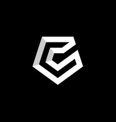 initial letter c logo template with pentagonal vector image