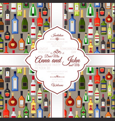 invitation card with alcohol bottles pattern vector image
