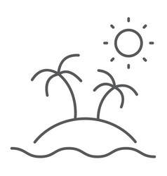 island thin line icon travel and tourism palm vector image