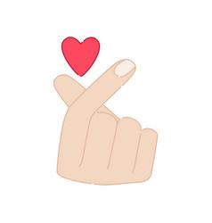 Korean symbol hand finger heart isolated on white vector