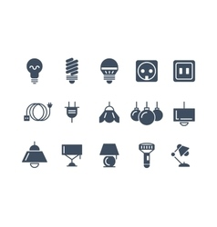 Lamp and bulbs black icons set Electrical vector image