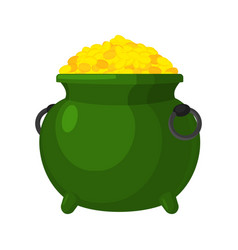 leprechaun pot gold isolated bowler golded coins vector image