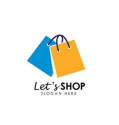 Lets shopping logo design template shop icon vector