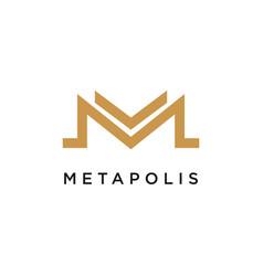 m logo concept creative minimal design template vector image