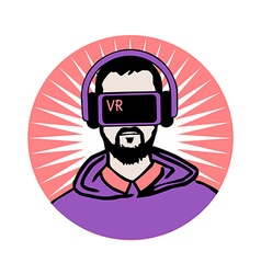 Man in virtual reality headset vector image