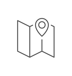map with pointer line outline icon vector image