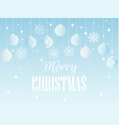 merry christmas background with christmas balls vector image