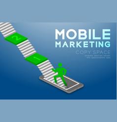 Mobile marketing concept pictogram man icon green vector