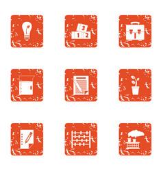 Monetary ecology icons set grunge style vector