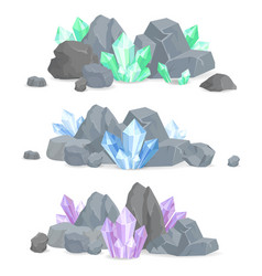 natural crystals clusters in solid stones set vector image