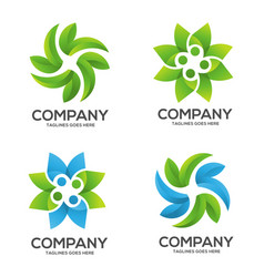 Nature green leaf logo vector