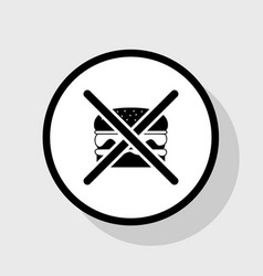 no burger sign flat black icon in white vector image