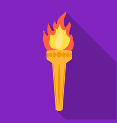 olympic torch icon in flat style isolated on white vector image