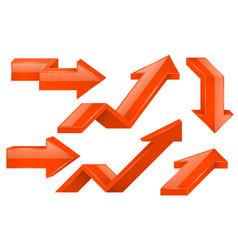 orange arrows 3d icons set vector image