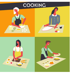 people cooking at kitchen faceless chef vector image