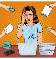 Pop Art Business Woman has a Headache at Office vector