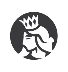 princess with crown silhouette sign vector image