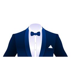 Realistic elegant tuxedo suit bowtie isolated vector