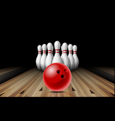 Red glossy ball rolling on bowling alley line vector