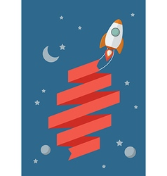 Rocket flying in space with banner vector