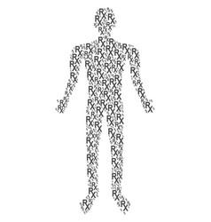 Rx medical symbol person figure vector