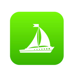 sailing ship icon digital green vector image