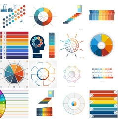 Set 9 templates infographic 8 positions vector