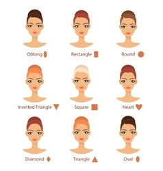 Set of different womans face types vector