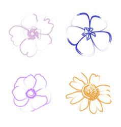 Set of flower outlines vector