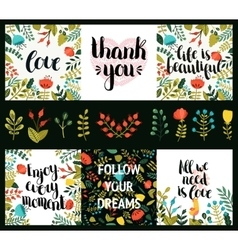 Set of inspirational and romantic cards vector