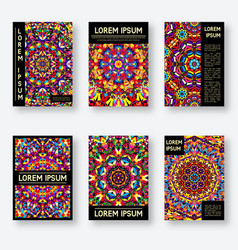 Set of six posters with a bright kaleidoscope vector