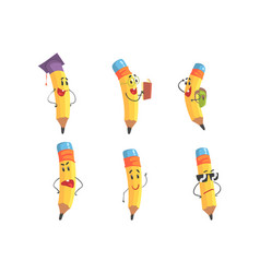 Set pencil characters cute yellow pencils with vector