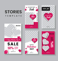 Set valentines day sale stories template vector