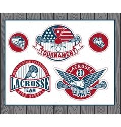 set vintage lacrosse labels and badges vector image