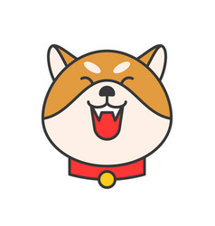 Shiba inu emoticon filled outline design vector