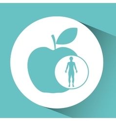 silhouette man health apple icon vector image