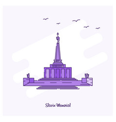slavin memorial landmark purple dotted line vector image