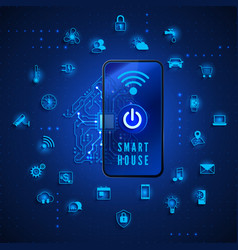 smart home or iot concept remote monitoring and vector image