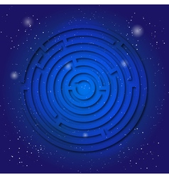 Spiritual sacred symbol of labyrinth on the deep vector