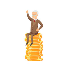 Successful senior businessman on coin stack vector