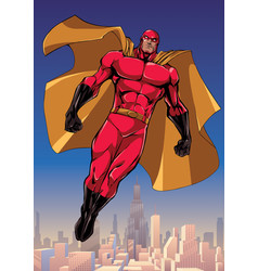 Superhero flying above the city vector