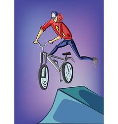 Teenager doing bike tricks on ramps vector