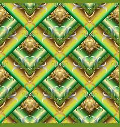 tiled green 3d greek seamless pattern geometric vector image
