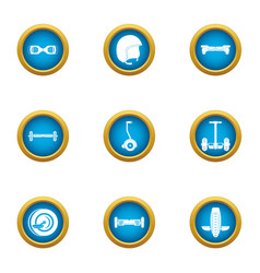 Two wheeled transport icons set flat style vector