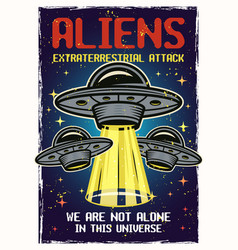Ufo colored poster with headline aliens vector