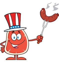 Uncle Sam Steak Cartoon vector image
