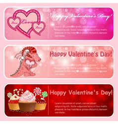 Valentine horizontal banners vector image