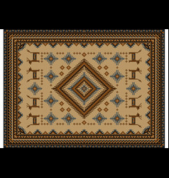 Vintage carpet in brown shades with a diamond vector