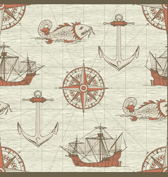 Vintage seamless background on the theme of travel vector
